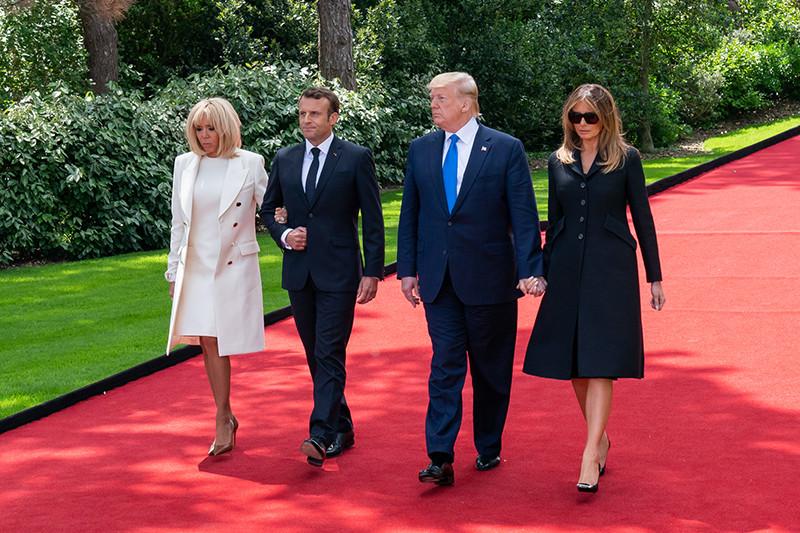Первая леди Франции Брижит Макрон, президент Франции Эммануэль Макрон, президент США Дональд Трамп,первая леди США Мелания Трамп
