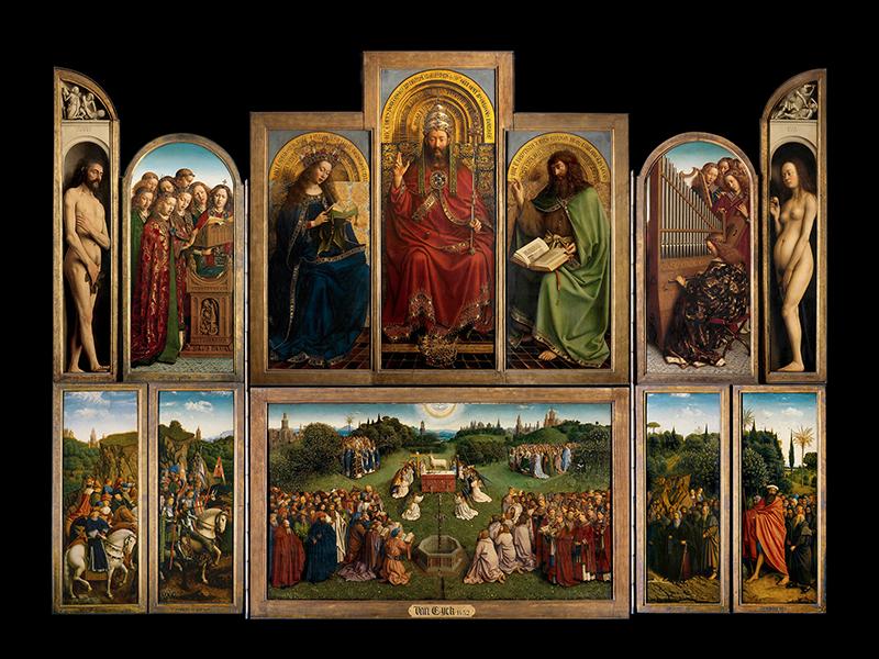 Ян и Хуберт ван Эйки, «Поклонение агнцу», 1432.Панели внутренней части открытого алтаря. Собор Св. Бавона, Гент