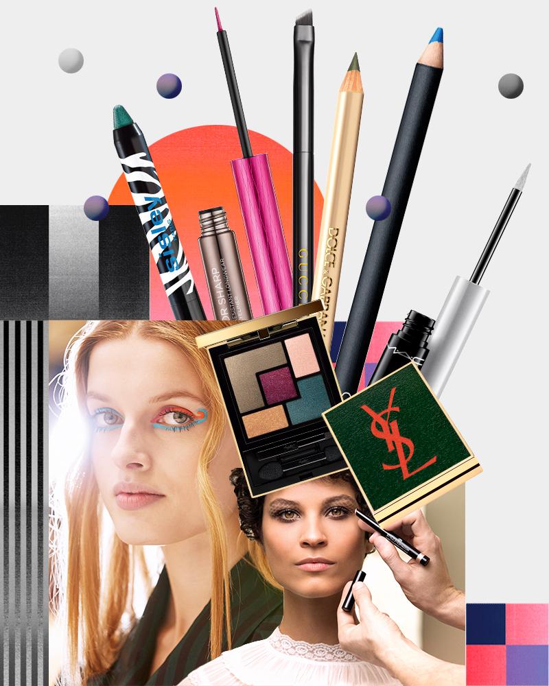 Пятицветная палетка теней Scandal Couture Palette, Yves Saint Laurent  Карандаши для глаз: Velvet Eyeliner (оттенок Curaçao), NARS и The Eyeliner (оттенок 16), Dolce & Gabbana Кисть для теней Angled Brush (23), Gucci  Подводка: Superslick Liquid Eye Liner (оттенок Nocturnal), М·А·С и Razor Sharp (оттенок Junkshow), Urban Decay  Тени-карандаш для век: Phyto-Eye Twis (оттенок «Лагуна»), Sisley