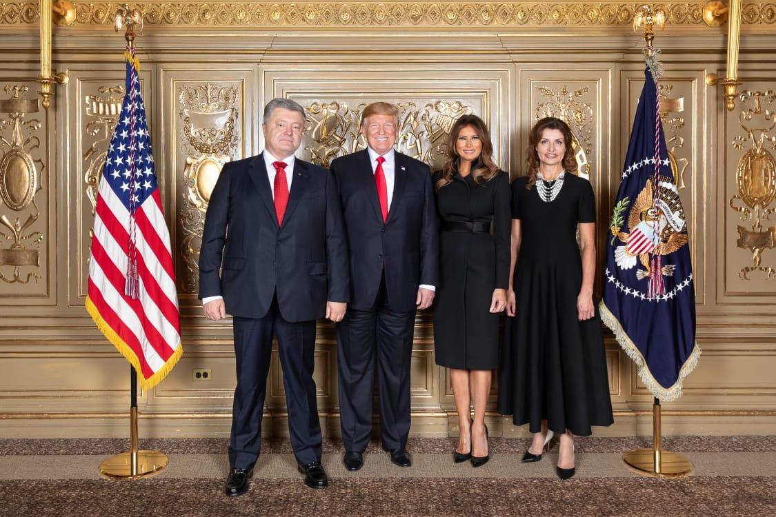 Петр Порошенко, Дональд Трамп, Мелания Трамп и Марина Порошенко