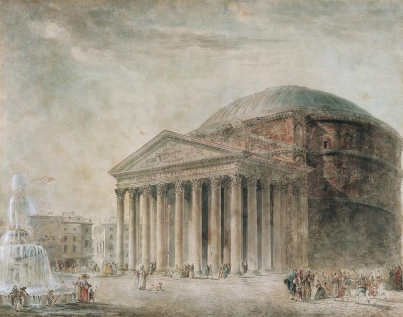 Жан Франсуа Тома де Томон. Рисунок. Вид Пантеона в Риме. 1787 г.
