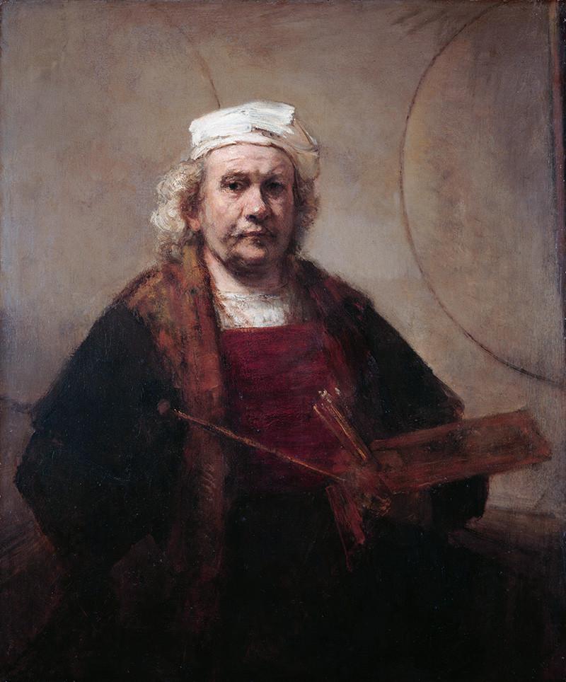 Рембрандт ван Рейн. «Автопортрет с двумя кругами», 1660