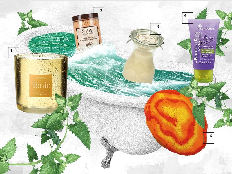 Ароматическая свеча Tonic, Clarins Морская соль для ванны с ароматом розового грейпфрута SPA a la carte, Л'Этуаль Молоко для ванны с маслом мандарина Milk Bath, Egomania Охлаждающий гель для ног Soin Végétal Beauté des Pieds, Yves Rocher Пена для ванны с маслами мандарина и бергамота «Оптимист», Lush