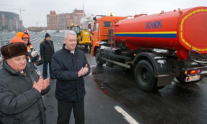 Мэр Москвы С.Собянин на открытии развязки на пересечении Ленинградского шоссе и МКАД