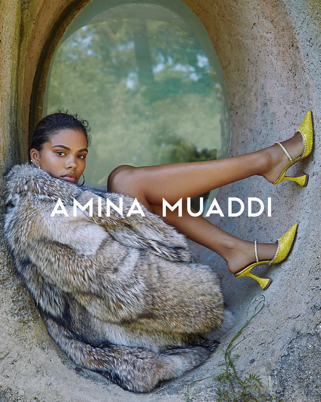 Тина Кунаки в рекламной кампании Amina Muaddi
