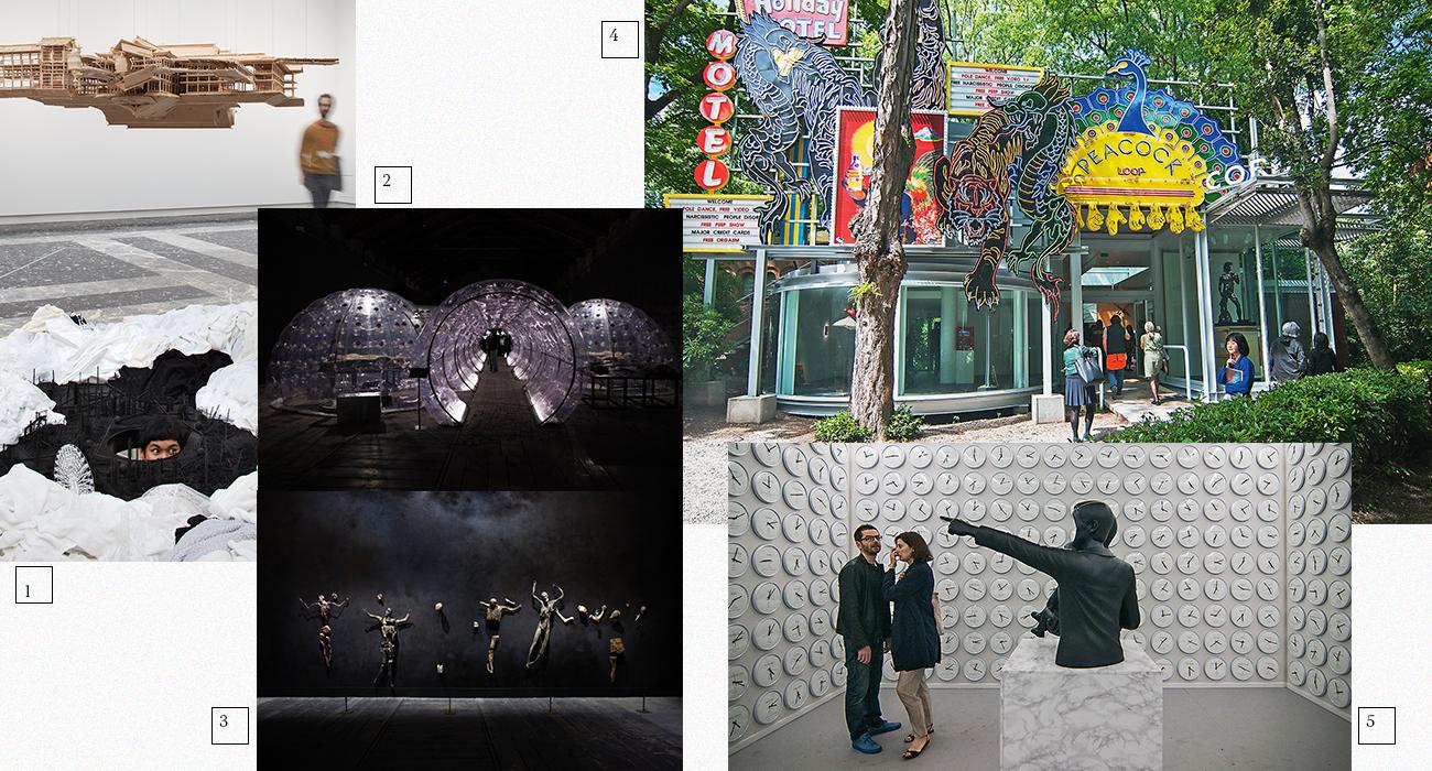 1 | Павильон Японии; 2,3 | Павильоны Италии; 4,5 | Павильоны Южной Кореи