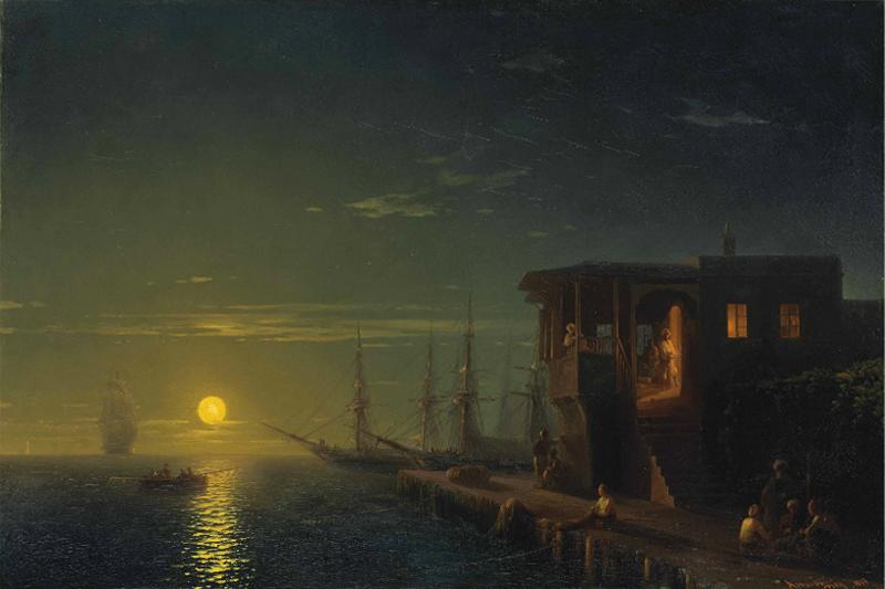 Иван Айвазовский. «Османская кофейня в лунном свете», 1857 г.