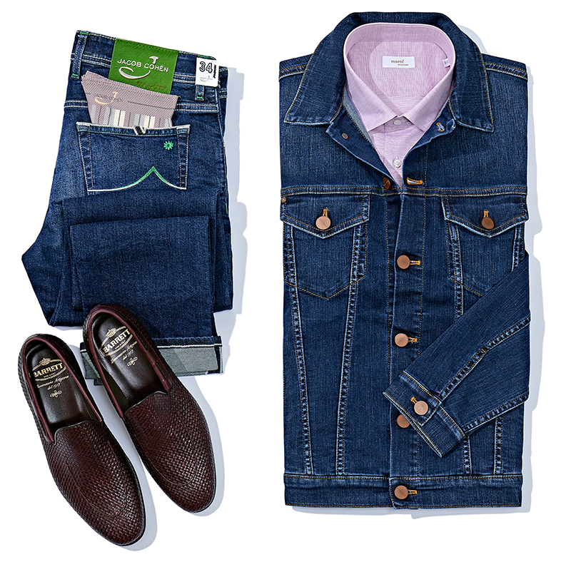 Куртка и джинсы Jacob Cohen, сорочка Marol, лоферы Barrett
