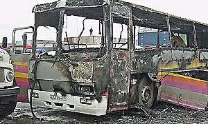 После аварии автобус полностью сгорел