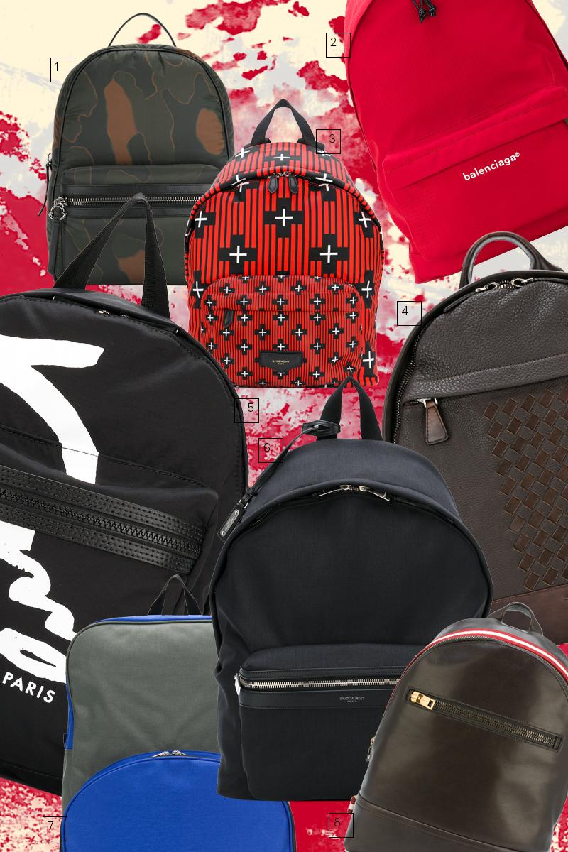 1) Рюкзак из нейлона и кожи, Moncler 2) Нейлоновый рюкзак, Balenciaga 3) Нейлоновый рюкзак, Givenchy 4) Кожаный рюкзак, Santoni 5) Рюкзак с принтом, Kenzo 6) Рюкзак из нейлона и кожи, Saint Laurent 7) Рюкзак, Comme des Garçons Shirt 8) Кожаный рюкзак, Bally