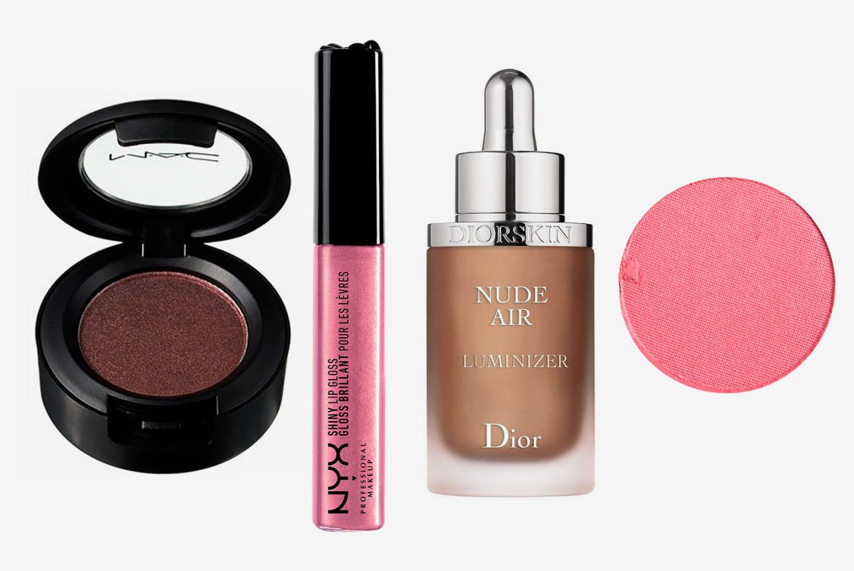 Тени для век Antiqued, MAC Cosmetics; блеск для губ NYX Professional Make Up; иллюминайзер Diorskin Nude Air Luminizer, Dior; тени для век Sushi Flower, MAC Cosmetics