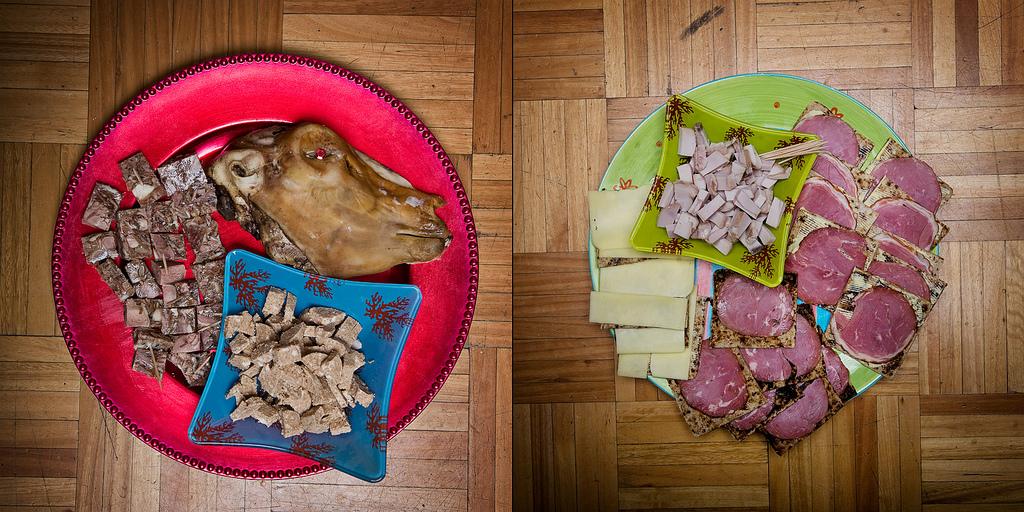 Ламбасвид (ошпаренная баранья голова, включая глазные яблоки) и хрутспунгур (вареные бараньи яйца, вымоченные в кислом молоке)