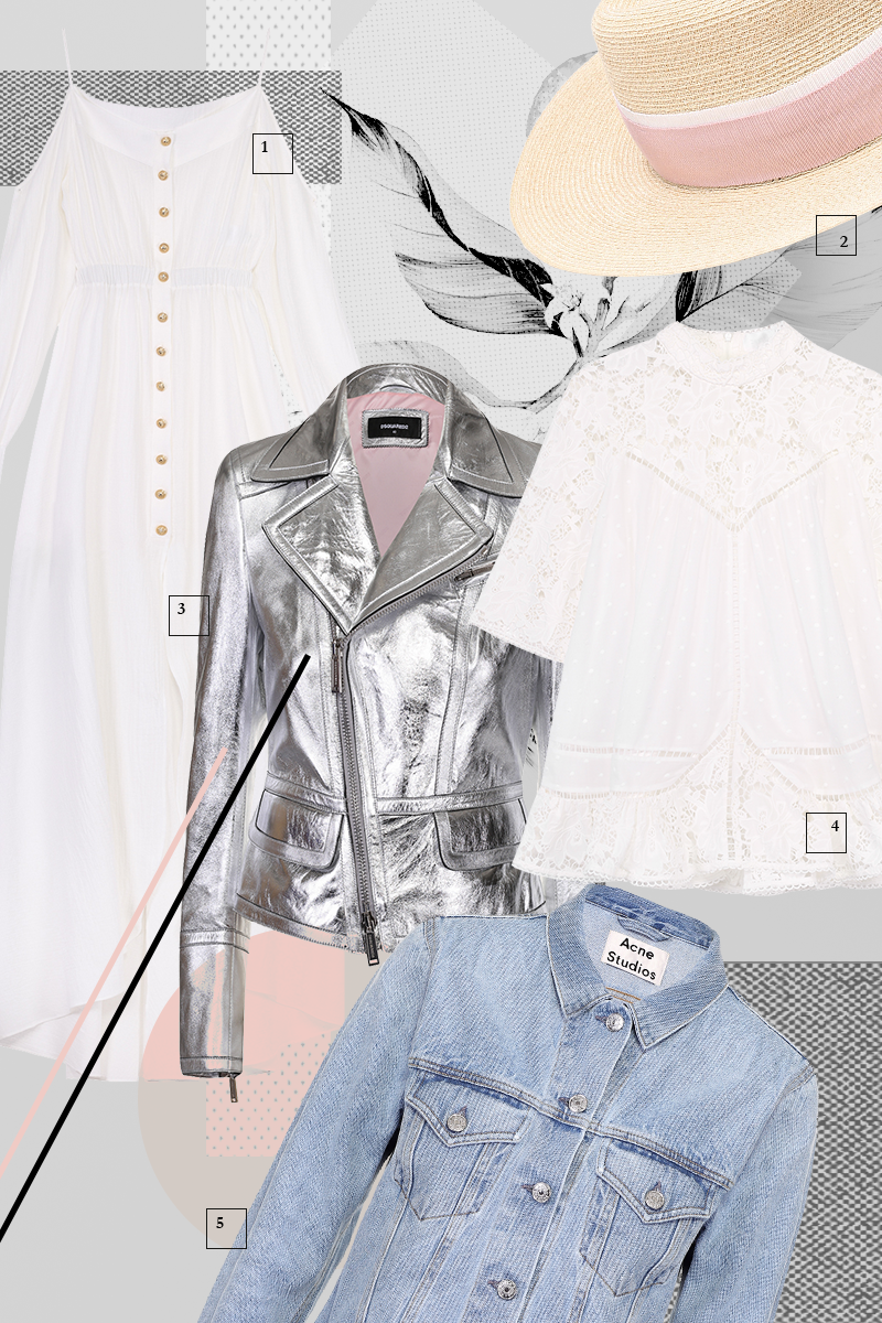 1 | Платье, Balmain, 54 600 руб. 2 | Шляпа Charles, Maison Michel,31 000 руб. 3 | Кожаная куртка, Dsquared2, 89 100 руб. 4 | Топ,Zimmermann, 24 000 руб. 5 | Джинсовая куртка, Acne Studios, 17 450 руб.