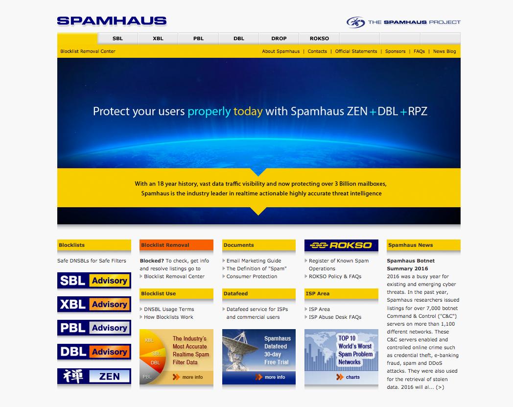 Официальный сайт компании Spamhaus