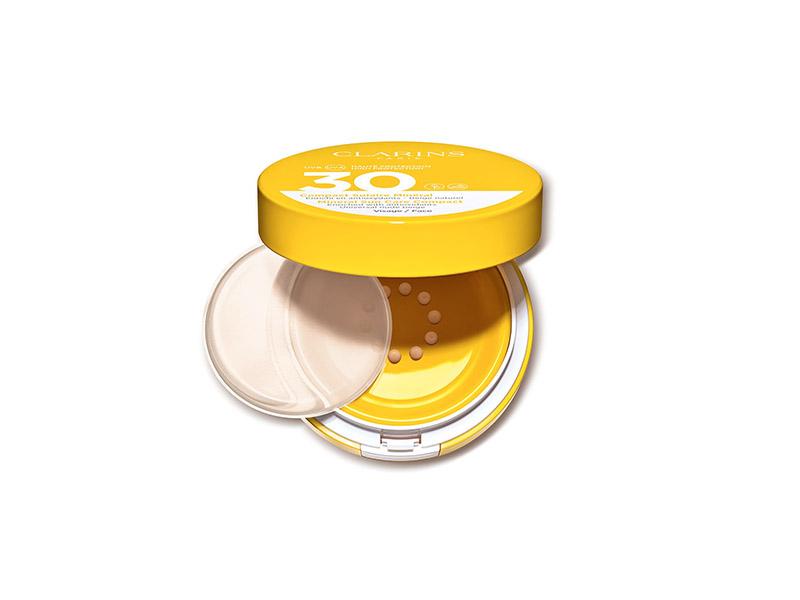 Защитный флюид для лица с легким тоном SPF30 Compact Solaire Minéral Visage, Clarins