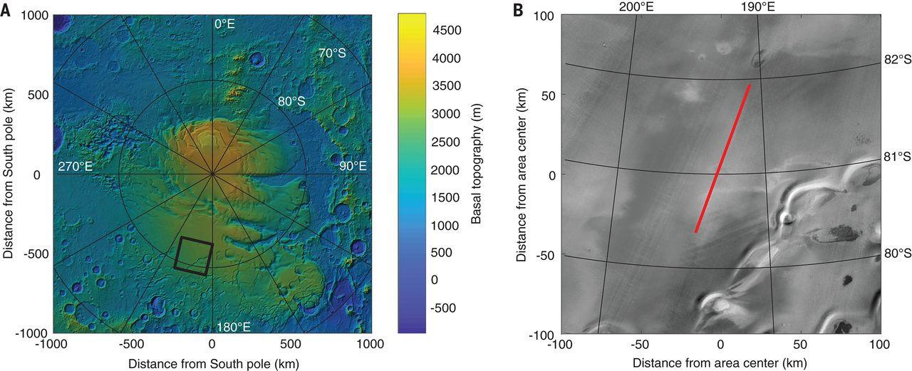 Южный полюс Марса (слева) и область ледника, где, предположительно, находится озеро (справа)