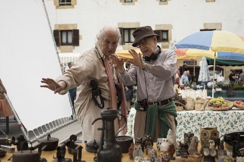 Витторио Стораро и Вуди Аллен на съемках фильма «Фестиваль Рифкина»