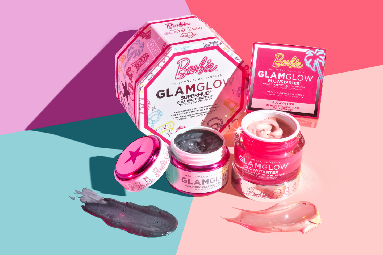 Маска Supermud Clearing Treatment и крем-гель Glowstarter Mega Illuminating Moisturizer, Barbie X GlamGlow
