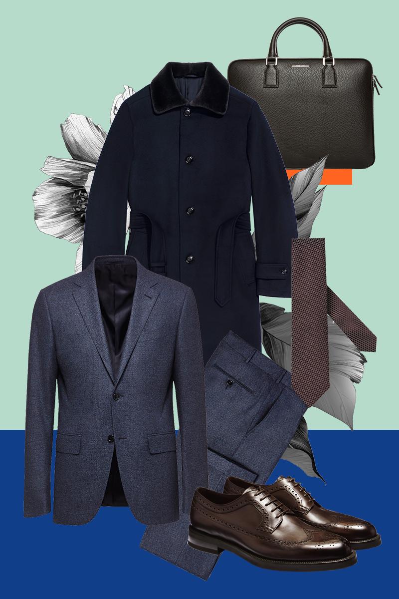 Пальто, костюм, обувь, галстук, сумка, все — Ermenegildo Zegna