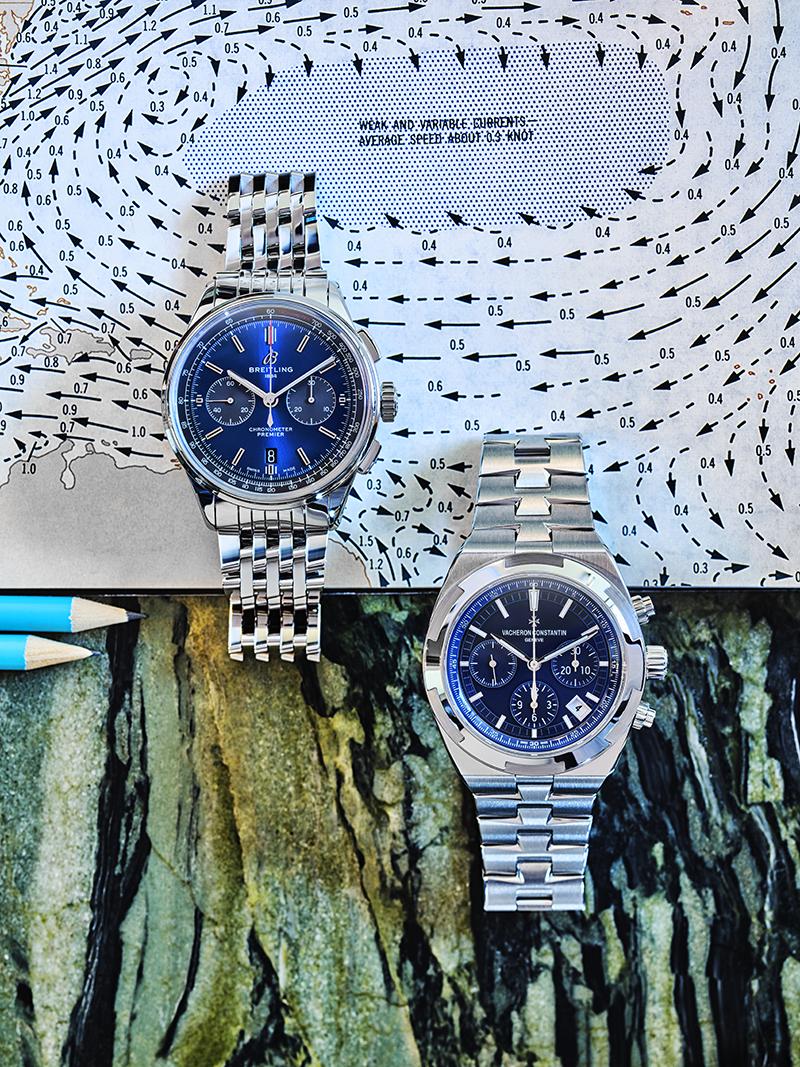 Часы Premier B01 Chronograph 42, Breitling, часы Overseas с функцией хронографа, Vacheron Constantin