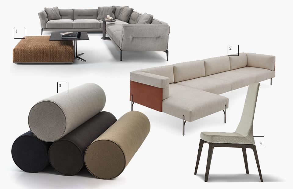 1 | Flexform; 2 | Fendi Casa; 3 | Moroso; 4 | Giorgetti