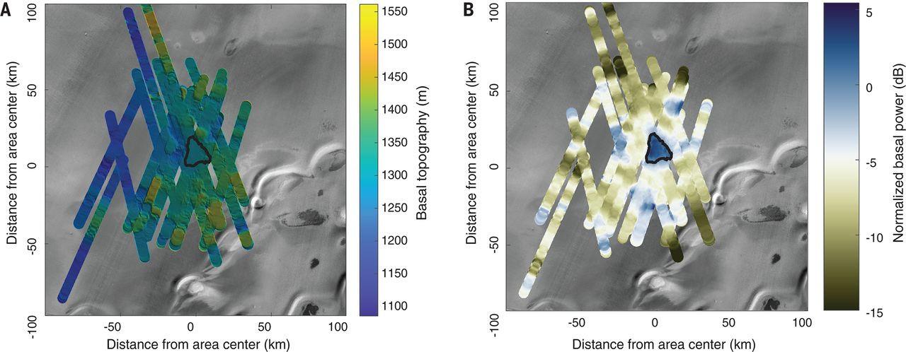 Инфракрасное изображение радиолокационного зондирования марсианского ледника