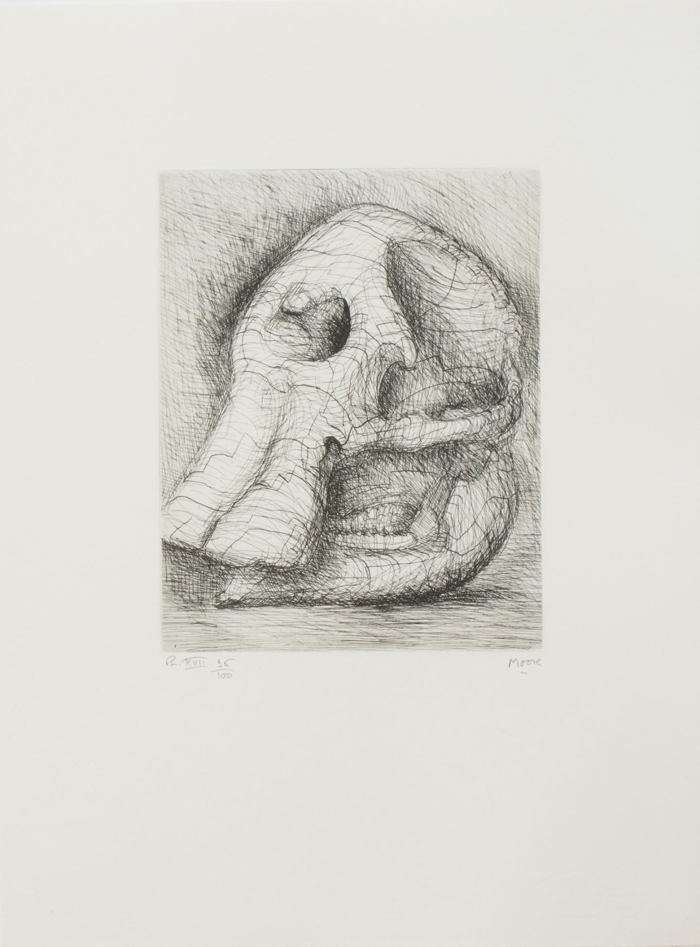 Генри Мур. Офорт. 1970. Иллюстрация к изданию Генри Мур. «Череп слона»