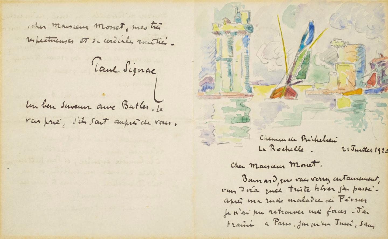 Письмо Поля Синьяка, написанное Клоду Моне в 1920
