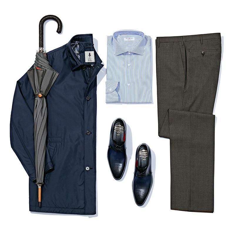 Куртка, рубашка и брюки Atelier Portofino, ботинки Barrett, зонт Pasotti  Кстати, в бутиках Frame, Barrett и Jacob Cohen сейчас действует приятная и кошельку, и сердцу сезонная скидка 30%.
