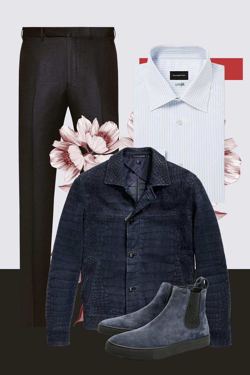 Куртка из крокодила, рубашка, брюки, все — Ermenegildo Zegna; полуботинки челси, Z Zegna