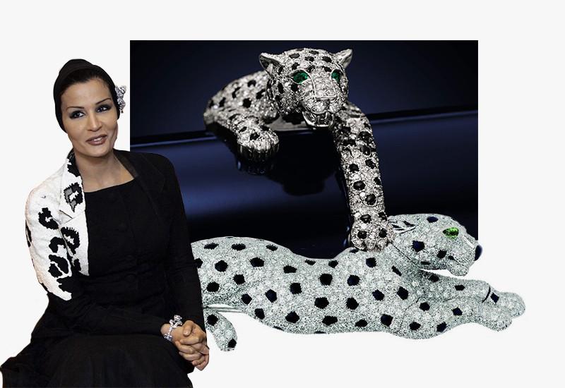 Шейха Моза в платье Dior Couture, 2010 г. | Браслет и брошь Panther, Cartier