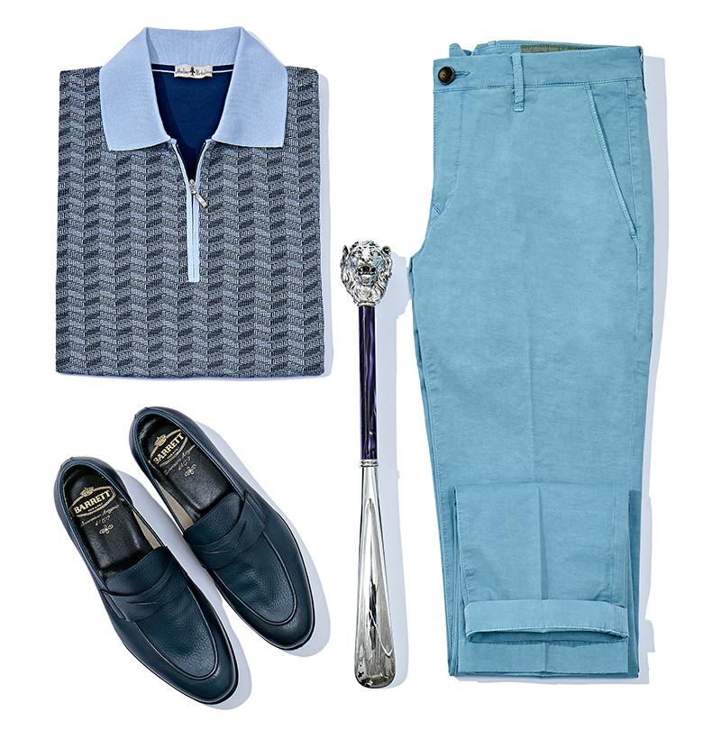 Поло и брюки Atelier Portofino, лоферы Barrett, ложка для обуви Pasotti