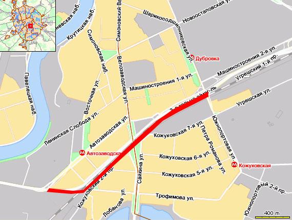 Пробка на внешней стороне 3-го кольца - от  Автозаводской ул. до Шарикоподшипниковской