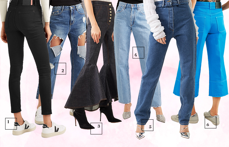Джинсы-скинни, Acne Studios Рваные джинсы с завышенной талией, SJYP Расклешенные джинсы, Ellery Прямые джинсы с завышенной талией, Goldsign Прямые джинсы с завышенной талией, Y/Project Джинсы-кюлоты, MSGM