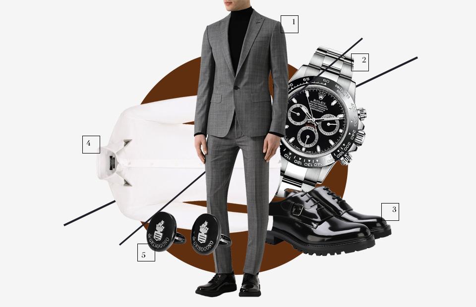 Костюм, Dsquared2 Часы, Rolex Дерби, Valentino Рубашка, CALVIN KLEIN 205W39NYC Запонки, De Grisogono