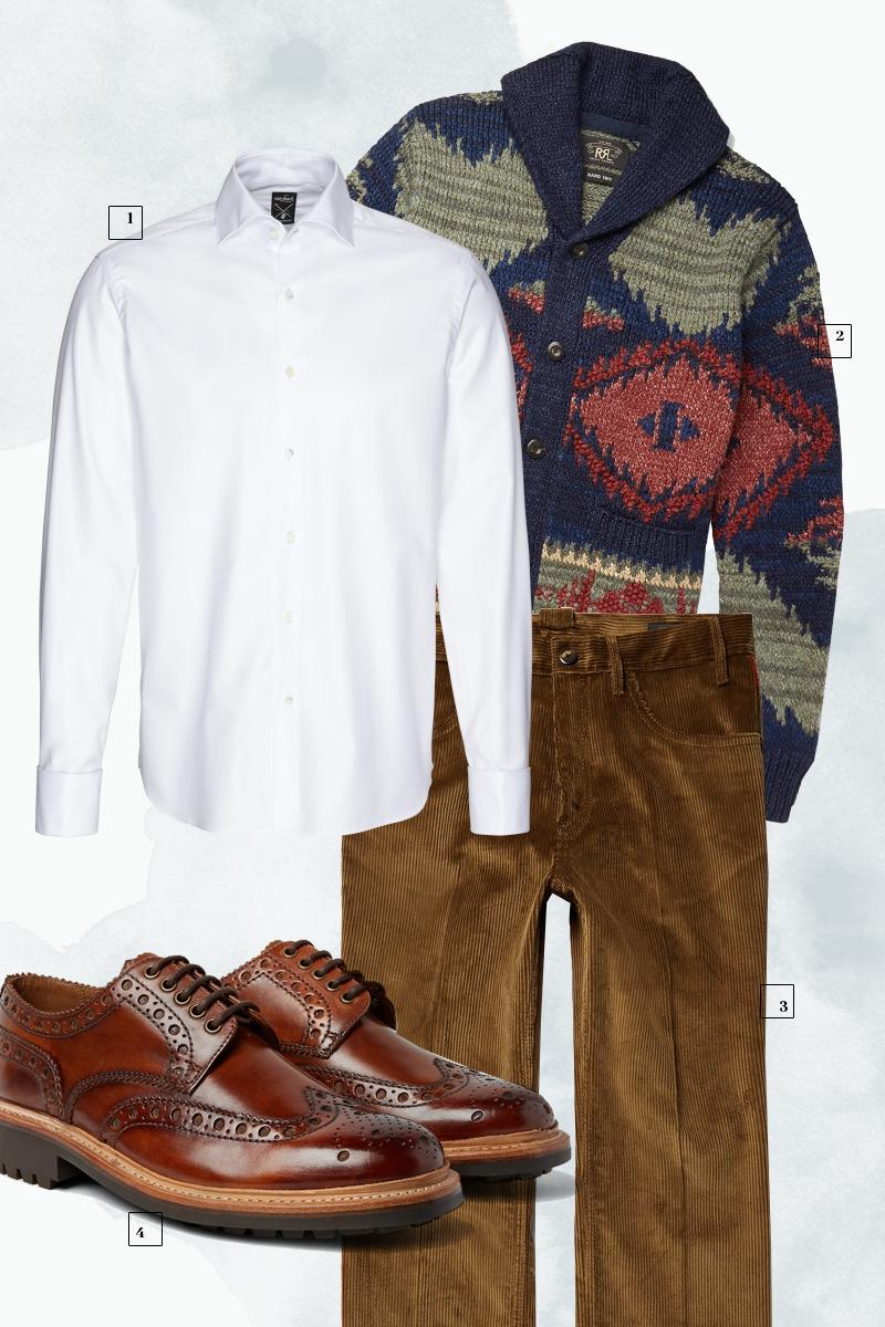 1 | Рубашка Van Laack;2 | Кардиган RRL;3| Брюки Prada; 4| Ботинки Grenson