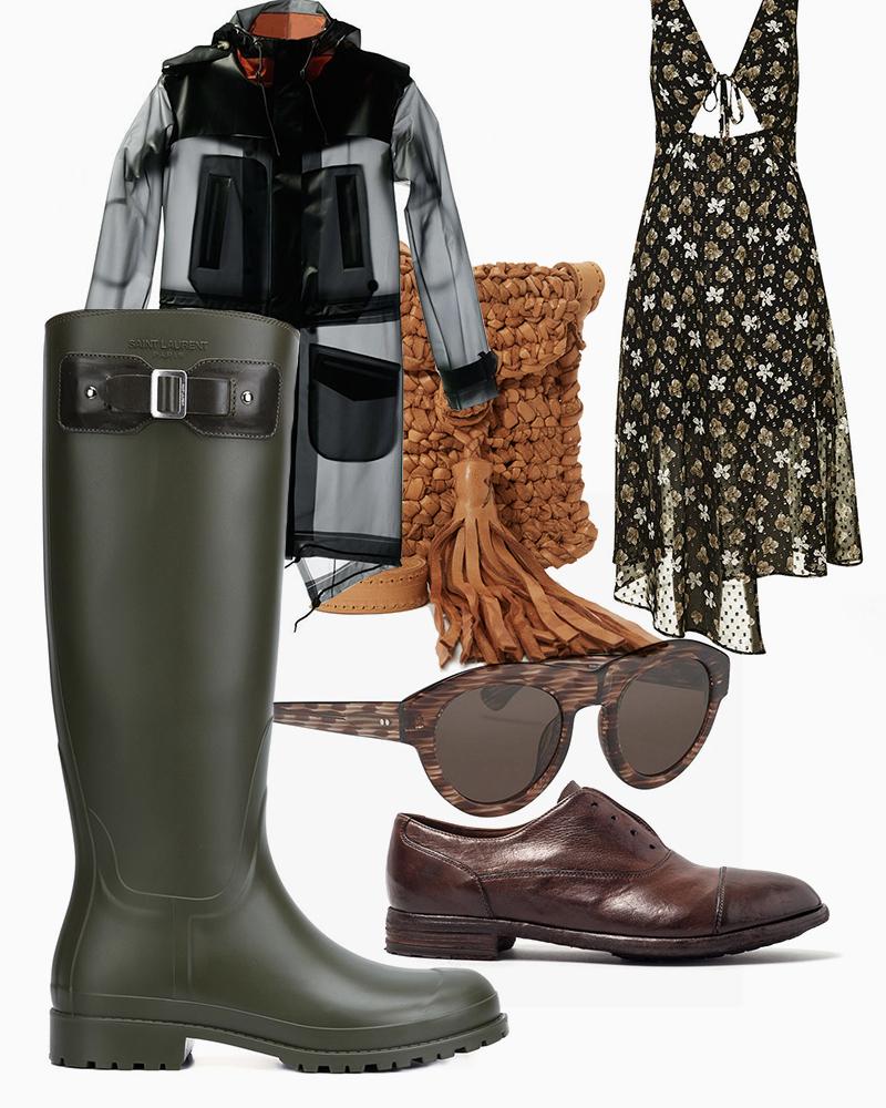 Платье, Topshop |Резиновые сапоги, Saint Laurent |Ботинки, Officine Creative |Сумка, En Shalla |Очки, Linda Farrow х Dries Van Noten |Плащ, Terra New York