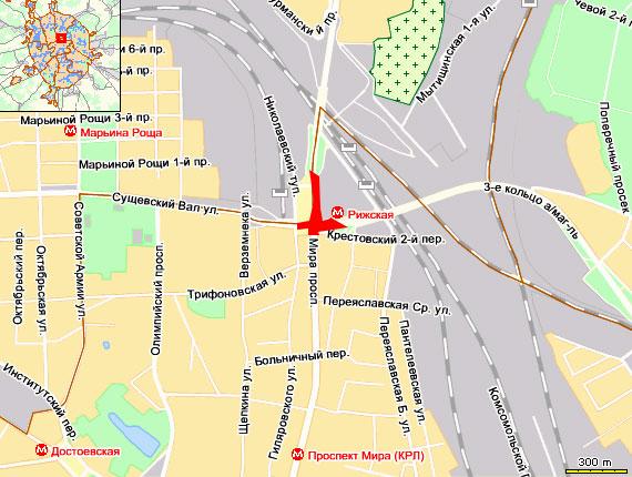 На выезде с 3-го кольца на Проспект Мира произошло ДТП, скопилась пробка.