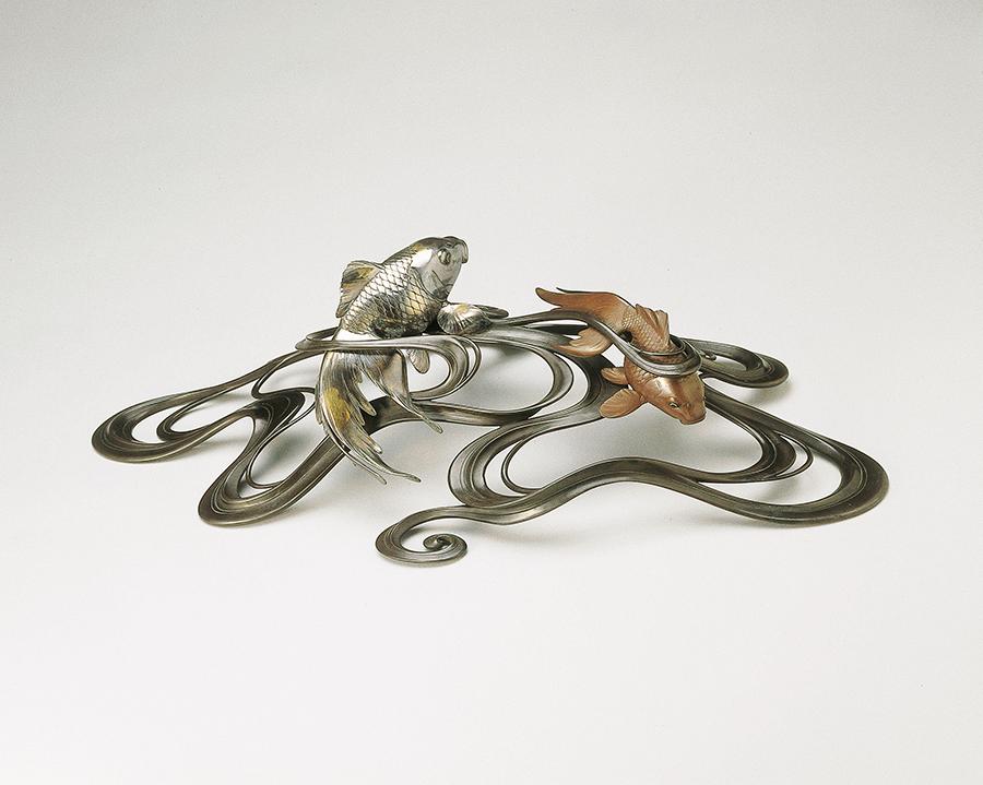 Декоративная композиция. Япония, около 1900 Мастер Осима Дзёун. Бронза, серебро, золото, сплав сибуити; литье, техники инкрустации ироэ такадзоган и хандзоган, пайка