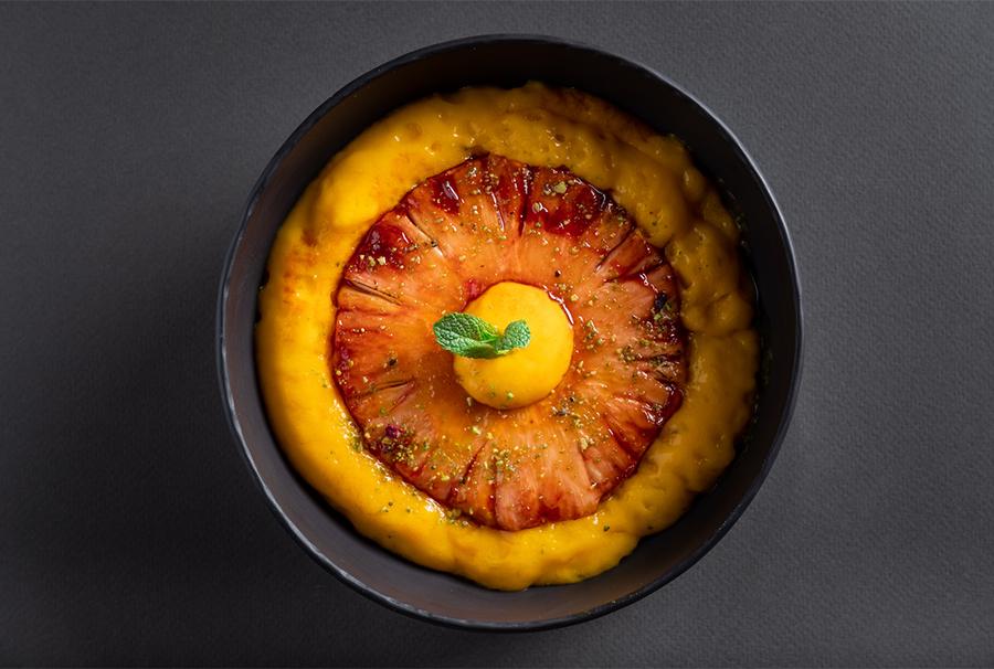 Ананас, карамелизированный в портвейне, с тыквой, апельсином и фенхелем