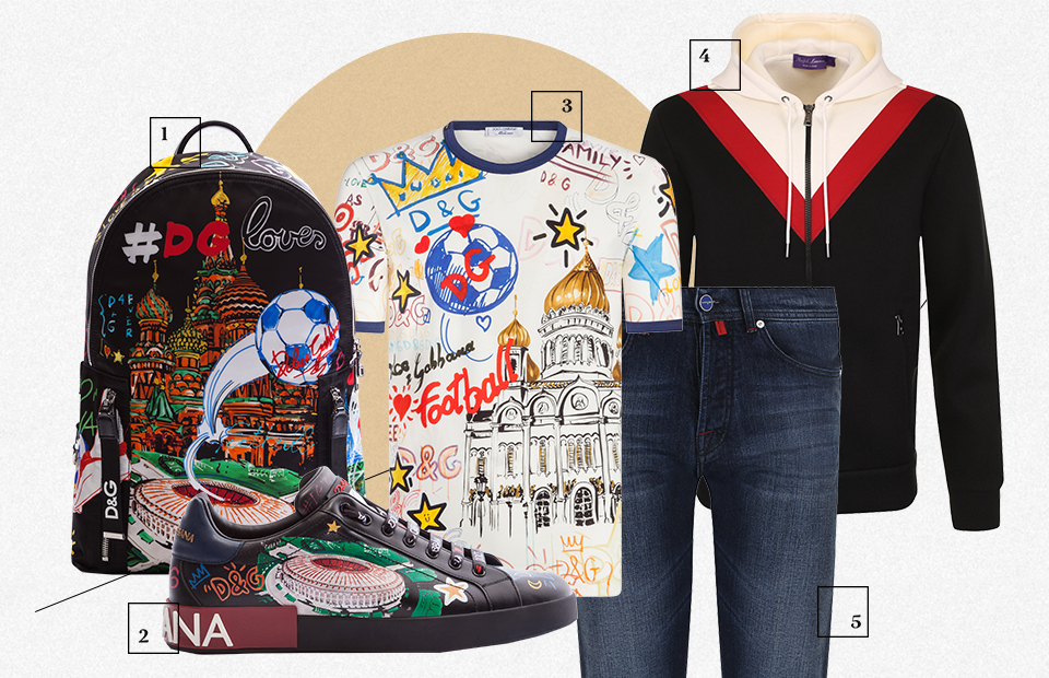1. Рюкзак Dolce & Gabbana — ₽76 750 2. Кеды Dolce & Gabbana — ₽54 200 3. Футболка Dolce & Gabbana — ₽30 850 4. Пуловер Ralph Lauren — ₽87 050 5. Джинсы Kiton — ₽62 750