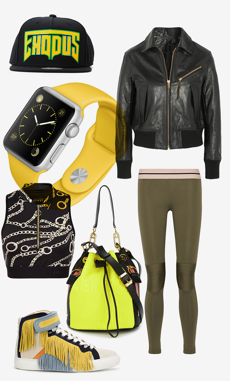 Леггинсы, Olympia Activewear |Топ, Juicy Couture |Куртка, Golden Goose Deluxe Brand |Бейсболка, Palm Angels |Кроссовки, Pierre Hardy |Сумка, Kenzo |Часы, Apple Watch Sport