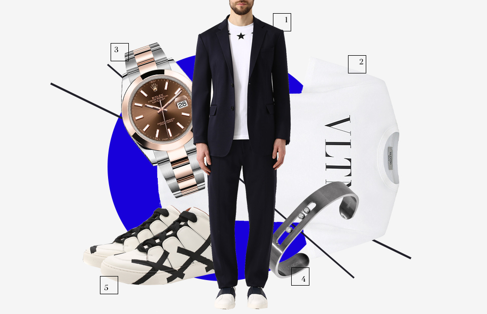 Костюм, Givenchy Футболка, Valentino Часы, Rolex Браслет, MESSIKA Кеды, Zegna Couture