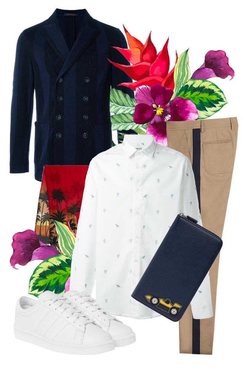 Блейзер, The Gigi | Брюки, Valentino | Рубашка, Kenzo | Шарф, Saint Laurent | Кроссовки, adidas Originals | Бумажник, Prada