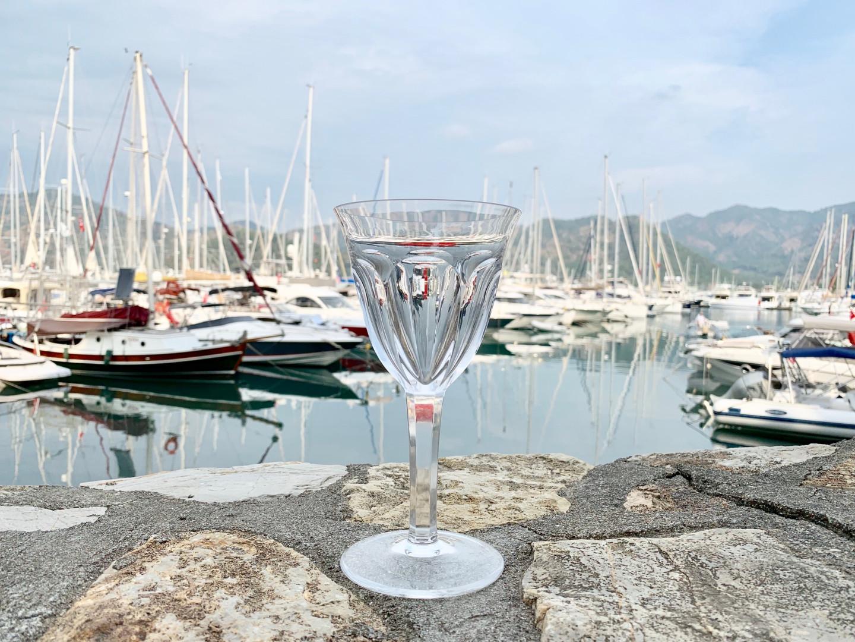 Бокал для красного вина Moser на фоне марины D-Resort Göcek