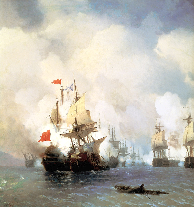 Иван Айвазовский. «Бой в Хиосском проливе», 1848