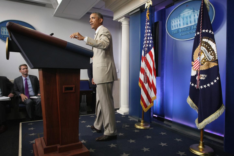 Барак Обама на выступлении в Белом доме по вопросам противодействию ИГ (запрещенная в России террористическая организация) и иммиграционной реформе, 2014