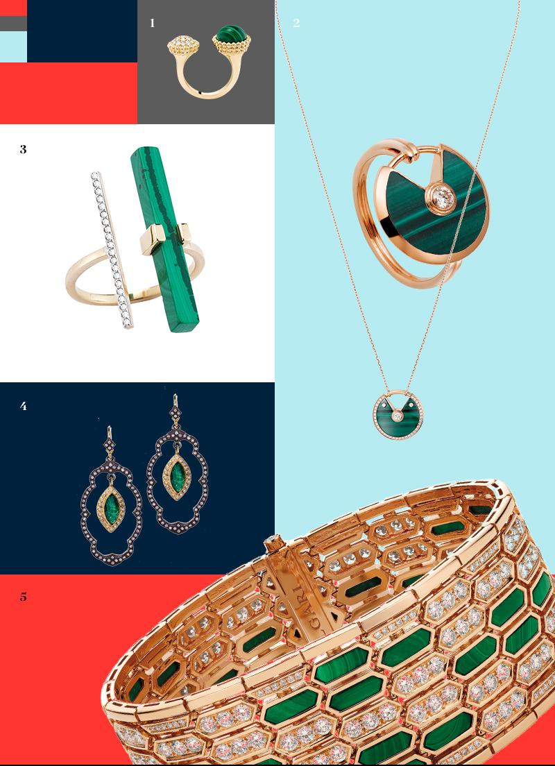 1. Кольцо Perlée, Van Cleef & Arpels |2. Кольцо и подвеска Amulette de Cartier, Cartier | 3. Кольцо, Mateo| 4.Серьги, Armenta | 5. Браслет Serpenti, Bulgari