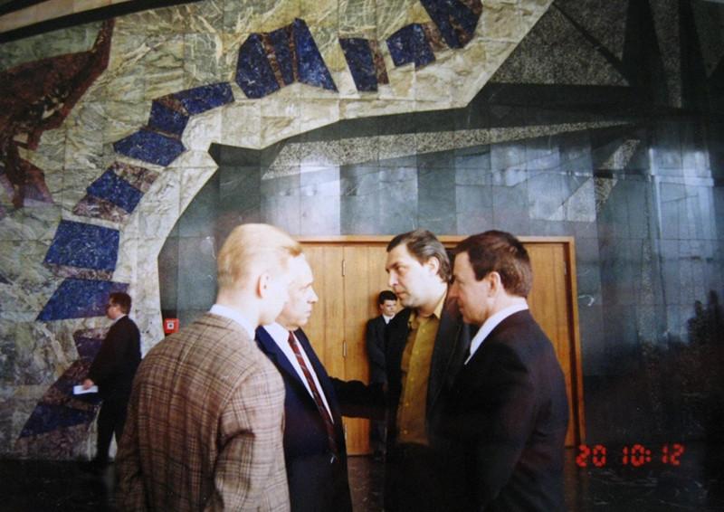 С ЭрнестомМацкявичюсом, Анатолием Лукьяновым иАлександромНевзоровым в Госдуме, Москва,1994 год