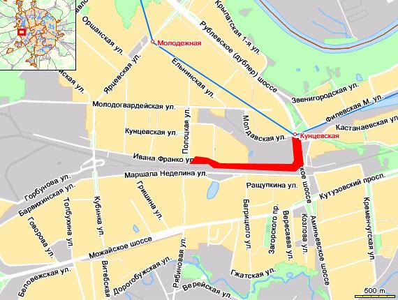 Затруднено движение на ул. Ивана Франко - от Полоцкой улицы до ст.  метро Кунцевская